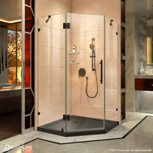 DreamLine DL-6052-88-09 Prism Lux 40 in. D x 40 in. W x 74 3/4 in. H Frameless Shower Enclosure in Satin Black and Corner Drain Black Base