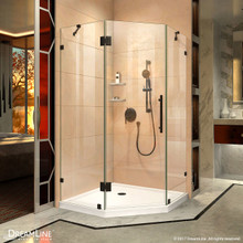DreamLine DL-6053-06 Prism Lux 42 in. D x 42 in. W x 74 3/4 in. H Frameless Shower Enclosure in Oil Rubbed Bronze, Corner Drain White Base