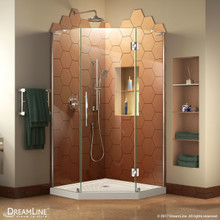DreamLine DL-6061-22-01 Prism Plus 38 in. D x 38 in. W x 74 3/4 in. H Frameless Shower Enclosure in Chrome and Corner Drain Biscuit Base