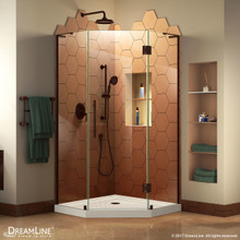 DreamLine DL-6063-06 Prism Plus 42 in. D x 42 in. W x 74 3/4 in. H Frameless Shower Enclosure in Oil Rubbed Bronze, Corner Drain White Base