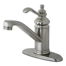 Kingston Brass Single Handle Lavatory Faucet with Push-Up Drain & Optional Deck Plate - Satin Nickel KS3408TL
