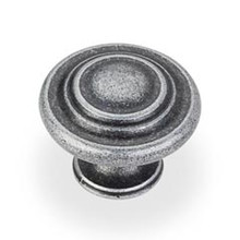"Hardware Resources 107ASM 1-5/16"" Diameter Cabinet Knob - Screws Included - Distressed Antique Silver"