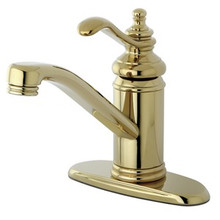 Kingston Brass Single Handle Lavatory Faucet with Push-Up Drain & Optional Deck Plate - Polished Brass