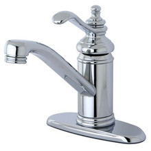 Kingston Brass Single Handle Lavatory Faucet with Push-Up Drain & Optional Deck Plate - Polished Chrome KS3401TL