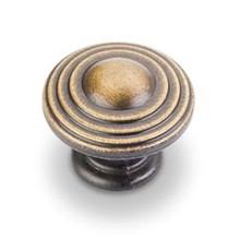 "Hardware Resources 137ABSB 1-1/4"" Diameter Ring Cabinet Knob - Screws Included - Antique Brushed Satin Brass"
