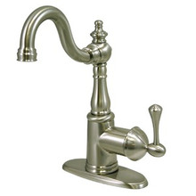 Kingston Brass Single Handle Lavatory Faucet with Push Pop-Up Drain & Optional Deck Plate - Satin Nickel