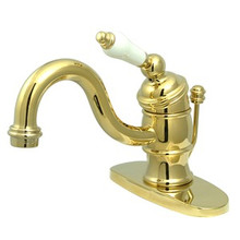 Kingston Brass Single Handle Lavatory Faucet with Pop-Up Drain & Optional Deck Plate - Polished Brass KB3402PL