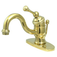 Kingston Brass Single Handle Lavatory Faucet with Pop-Up Drain & Optional Deck Plate - Polished Brass