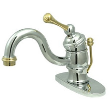 Kingston Brass Single Handle Lavatory Faucet with Pop-Up Drain & Optional Deck Plate - Polished Chrome/Polished Brass