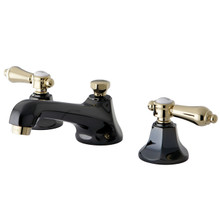 Kingston Brass NS4469BAL Two Handle Widespread Lavatory Faucet With Brass Pop-up Drain - Black Nickel/Polished Brass