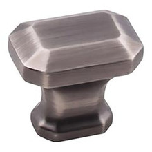 "Hardware Resources 165BNBDL 1-1/4"" Overall Length Emerald Cut Cabinet Knob - Screws Included - Brushed Pewter"