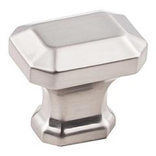 "Hardware Resources 165SN 1-1/4"" Overall Length Emerald Cut Cabinet Knob - Screws Included - Satin Nickel"