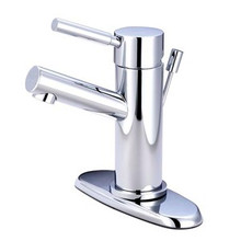 Kingston Brass Single Handle Lavatory Faucet with Brass Pop-Up Drain & Optional Deck Plate - Polished Chrome