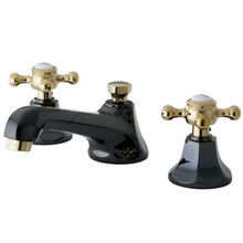 Kingston Brass NS4469BX Two Handle Widespread Lavatory Faucet With Brass Pop-up Drain - Black Nickel/Polished Brass