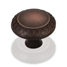 "Hardware Resources 1977S-DBAC 1-3/8"" Diameter Art Deco Cabinet Knob - Screws Included - Brushed Oil Rubbed Bronze"