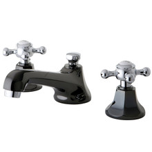 Kingston Brass NS4467BX Two Handle Widespread Lavatory Faucet With Brass Pop-up Drain - Black Nickel/Polished Chrome