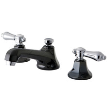 Kingston Brass NS4467BAL Two Handle Widespread Lavatory Faucet With Brass Pop-up Drain - Black Nickel/Polished Chrome