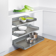 "Richelieu 2131710 Cavare Aluminum Grey Pull-Out Shelf System 22 1/8"" to 22 3/8"" Wide x 19 5/8"" D - Set of 2"