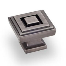 """Hardware Resources 585L-BNBDL 1-1/4"""" Overall Length Square Cabinet Knob - Screws Included - Brushed Pewter"""
