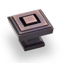 """Hardware Resources 585L-DBAC 1-1/4"""" Overall Length Square Cabinet Knob - Screws Included - Brushed Oil Rubbed Bronze"""