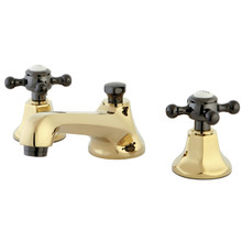 Kingston Brass NS4466BX Two Handle Widespread Lavatory Faucet With Brass Pop-up Drain - Polished Brass/Black Nickel