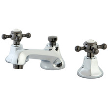 Kingston Brass NS4463BX Two Handle Widespread Lavatory Faucet With Brass Pop-up Drain - Polished Chrome/Black Nickel