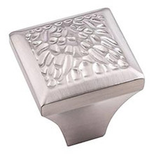 """Hardware Resources 457SN 1-1/4"""" Overall Length Hammered Texture Cabinet Knob - Screws Included - Satin Nickel"""
