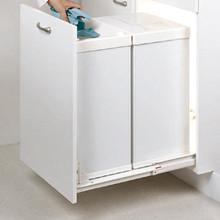 "Richelieu 640530 Metal Floor Standing Waste Bin 42.3"" H x  19 5/8"" W x 13 3/8"" D / 63.4 qt - White"