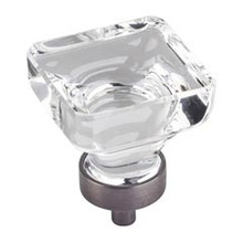 """Hardware Resources G140L-BNBDL 1-3/8"""" Overall Length Glass Square Cabinet Knob - Screws Included - Brushed Pewter"""