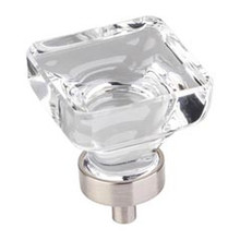 """Hardware Resources G140L-SN 1-3/8"""" Overall Length Glass Square Cabinet Knob - Screws Included - Satin Nickel"""