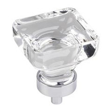"""Hardware Resources G140L-PC 1-3/8"""" Overall Length Glass Square Cabinet Knob - Screws Included - Polished Chrome"""