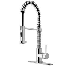 VIGO VG02001CHK1 Edison Pull-Down Spray Kitchen Faucet With Deck Plate In Chrome