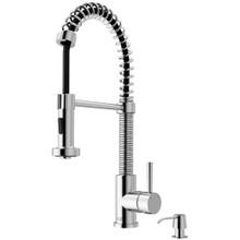 VIGO VG02001CHK2 Edison Pull-Down Spray Kitchen Faucet With Soap Dispenser In Chrome