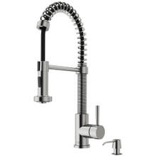 VIGO VG02001STK2 Edison Pull-Down Spray Kitchen Faucet With Soap Dispenser In Stainless Steel