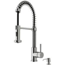 VIGO VG02001STK2 Edison Pull-Down Spray Kitchen Faucet With Soap Dispenser In Stainless Steel