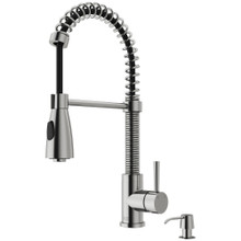 VIGO VG02003STK2 Brant Pull-Down Spray Kitchen Faucet With Soap Dispenser In Stainless Steel