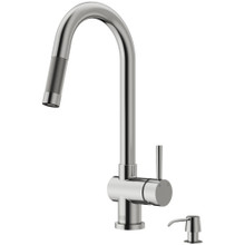 VIGO VG02008STK2 Gramercy Pull-Down Kitchen Faucet With Soap Dispenser In Stainless Steel