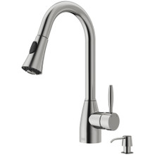 VIGO VG02013STK2 Aylesbury Pull-Down Spray Kitchen Faucet With Soap Dispenser In Stainless Steel