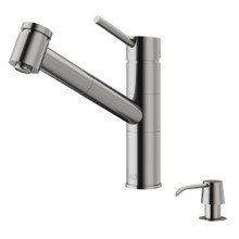 VIGO VG02021STK2 Branson Pull-Out Spray Kitchen Faucet With Soap Dispenser In Stainless Steel
