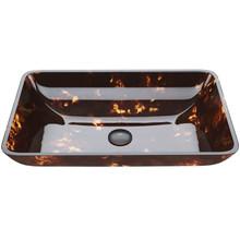 VIGO VG07044 Rectangular Brown And Gold Fusion Glass Vessel Bathroom Sink