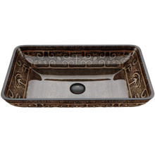 VIGO VG07045 Rectangular Golden Greek Glass Vessel Bathroom Sink