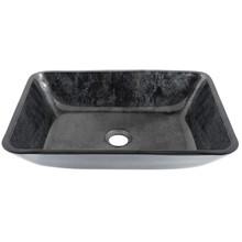 VIGO VG07084 Rectangular Gray Onyx Glass Vessel Bathroom Sink