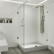 VIGO VG6012BNCL36WL Pacifica Frameless Shower Enclosure With Left Sided Opening And Base