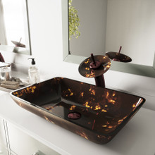 VIGO VGT033RBRCT Rectangular Brown And Gold Fusion Glass Vessel Bathroom Sink And Waterfall Faucet Set