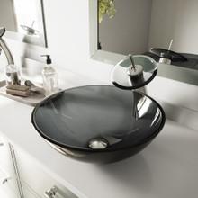VIGO VGT035BNRND Sheer Black Glass Vessel Bathroom Sink And Waterfall Faucet Set