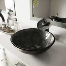 VIGO VGT040MBRND Gray Onyx Glass Vessel Bathroom Sink And Waterfall Faucet Set