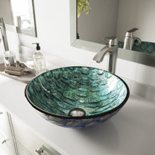VIGO VGT549 Oceania Glass Vessel Sink and Linus Faucet Set in Brushed Nickel Finish