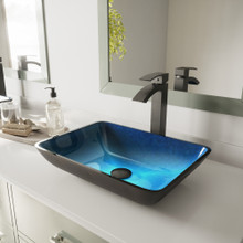 VIGO VGT1032 Rectangular Turquoise Water Glass Vessel Bathroom Sink Set With Duris Vessel Faucet In Matte Black