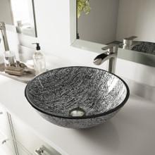 VIGO VGT1057 Titanium Glass Vessel Bathroom Sink Set With Milo Vessel Faucet In Brushed Nickel