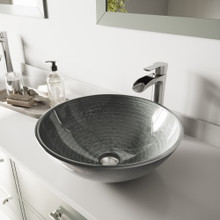 VIGO VGT1061 Simply Silver Glass Vessel Bathroom Sink Set With Niko Vessel Faucet In Brushed Nickel